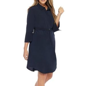 The Limited 20W Solid Navy Shirt Dress with Belt
